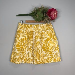 Loft | Printed Linen A-Line Pleated Skirt SZ 8